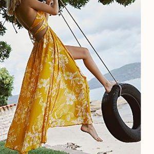 Free People Dresses - Maxi pink sleeveless ruffle hem FREE PEOPLE S NEW